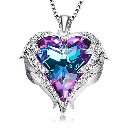 72a3e55d408 NEWNOVE Heart of Ocean Pendant Necklaces for Women Made with Swarovski  Crystals (Purple Swarovski Crystals