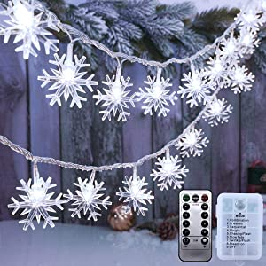 AODINI Christmas Decorations, 19.6 ft 40 LED Battery Operated Snowflake String Lights, 8 Modes Waterproof Christmas Lights with Remote for Christmas Decor Party Garden Patio Indoor Outdoor