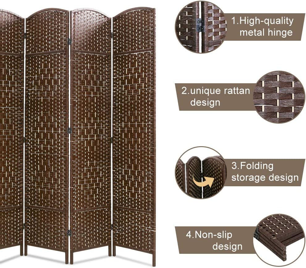4 Panel Brown FDW Room Divider Folding Privacy Divider 6 Ft Indoor Wall Divider Portable Partition Wood Screen