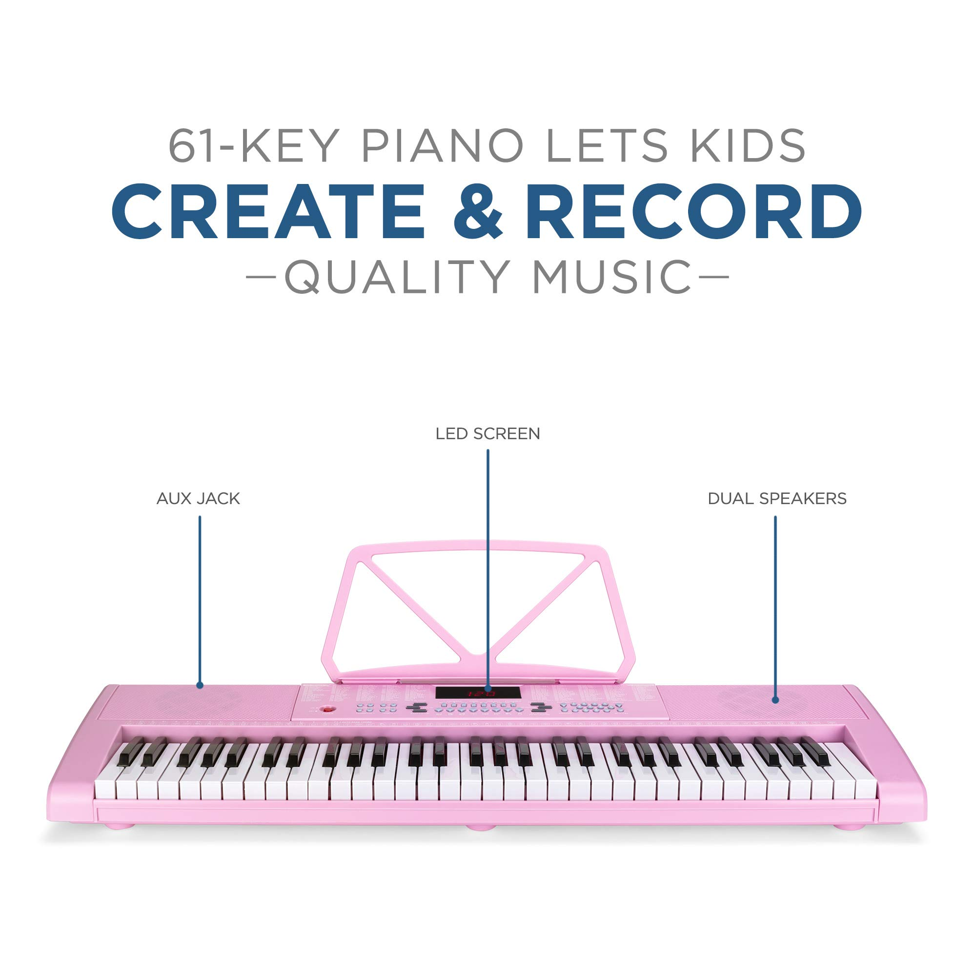 Best Choice Products 61-Key Portable Electronic Keyboard Piano with LED Screen, Record & Playback Function, Microphone, Headphone Jack (Pink) by Best Choice Products (Image #2)