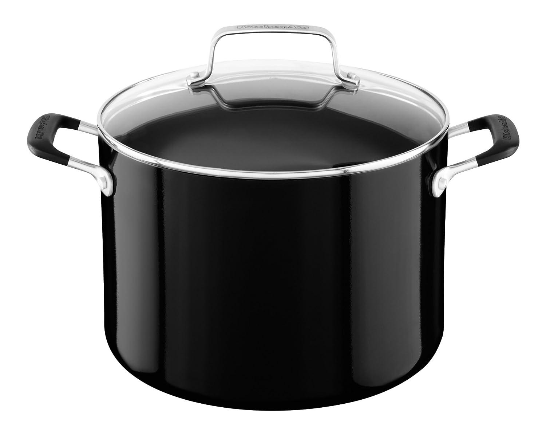 KitchenAid KC2A80SCOB Aluminum Nonstick 8.0 quart Stockpot with Lid - Onyx Black, Medium