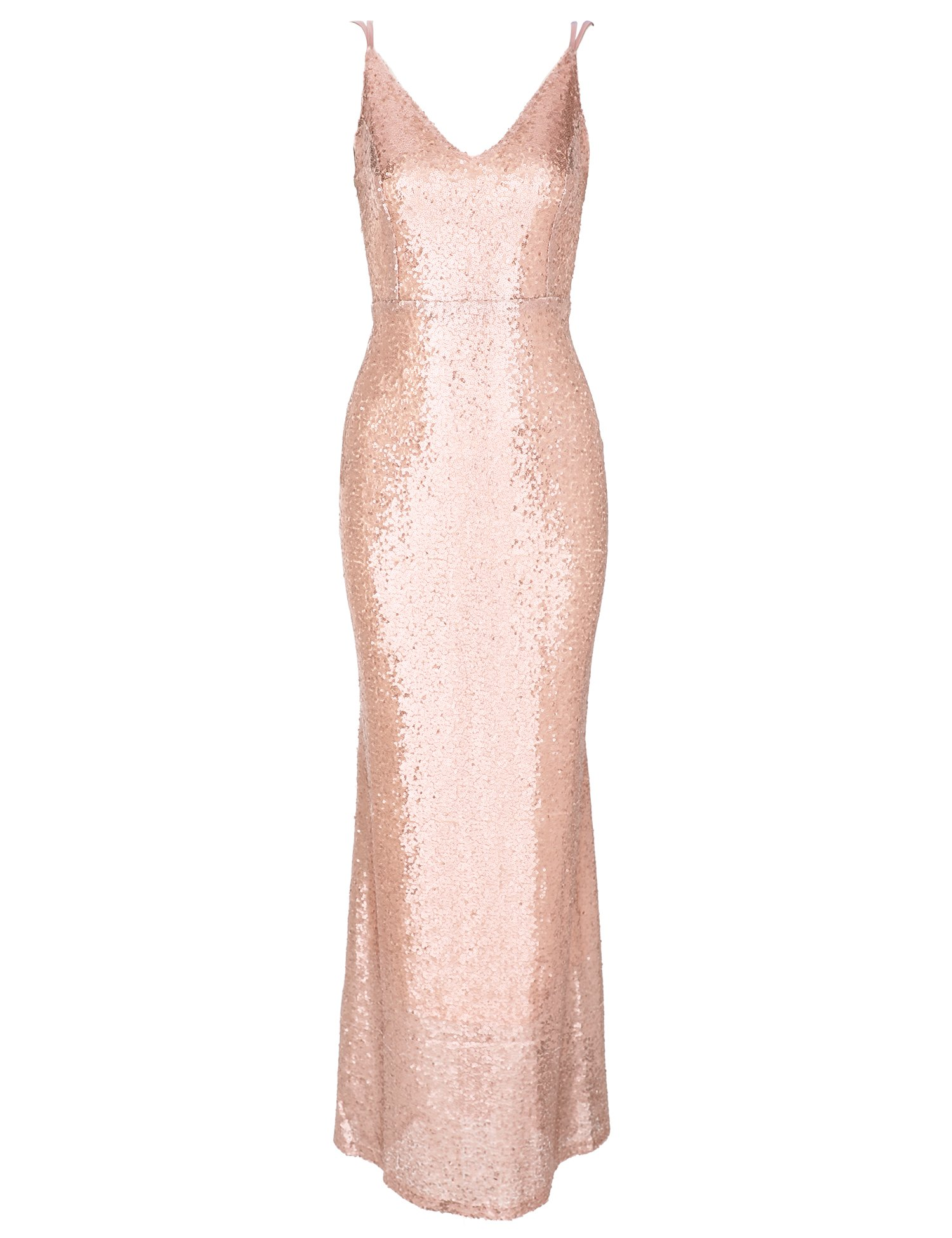 Flapper Girl Women's Backless Sexy Mermaid Deep V Neck Sequin Long Evening Prom Dress (6, Rose Gold)