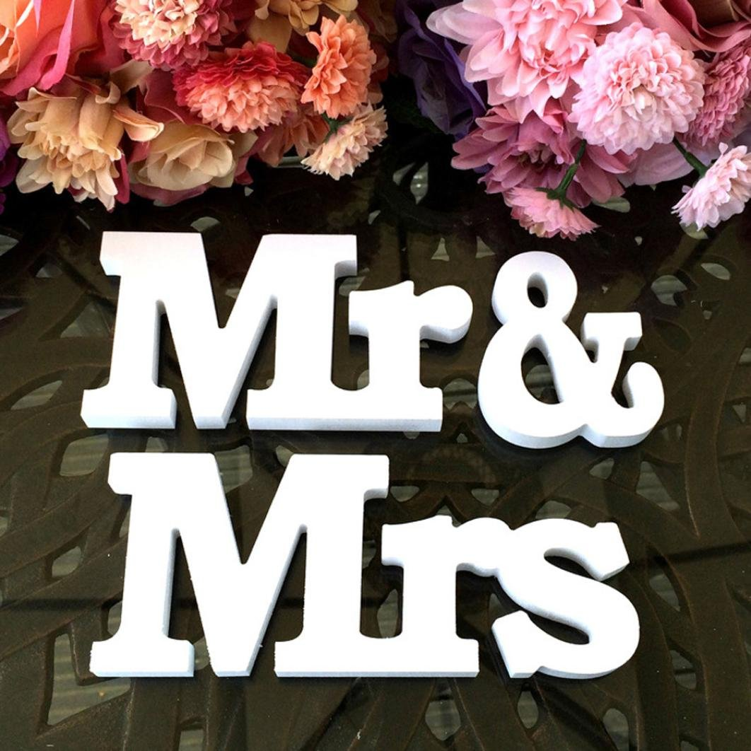 Samoii Clearance!Unique Gorgeous Wooden Style MR & MRS Letters Wedding Party Decoration Present Props Table Adornment Amazing Superb Wedding Decor Wedding Party Supplies Decor Accessories (Silver)