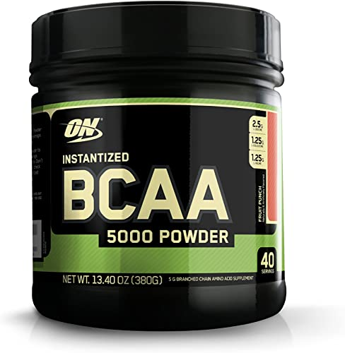 Optimum Nutrition Instantized BCAA Powder, Keto Friendly Branched Chain Essential Amino Acids, 5000mg, Fruit Punch, 40 Servings, 13.4 Ounce