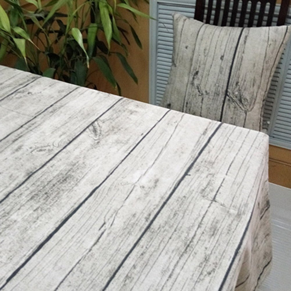 Whitelotous 1 Piece Natural Wooden Grain Pattern Tablecloth Photo Shoot Background Cloth Cotton Fabric Table Cover Decoration (55 x 79 Inch)