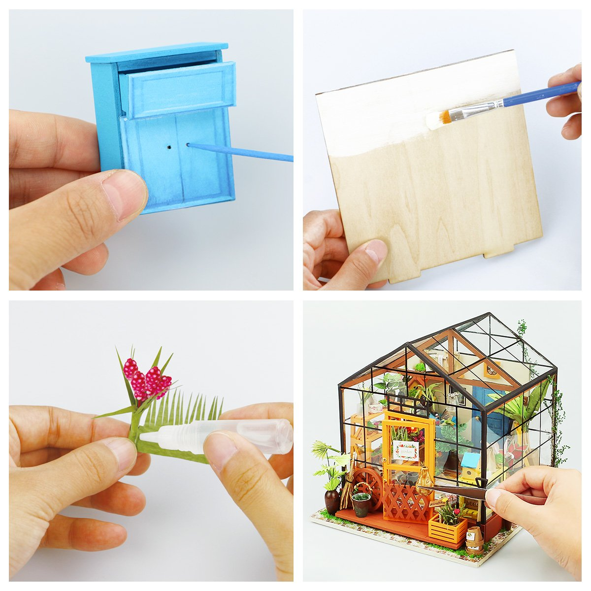 Amazon Com Robotime Diy Dollhouse Wooden Miniature Furniture Kit