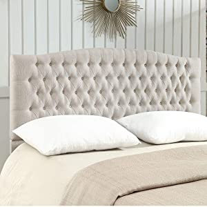 24KF Linen Upholstered Tufted Button King Headboard and comforrtable Fashional Padded King/California King Size headboard - Ivory