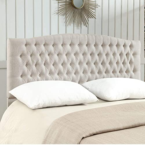 24KF Linen Upholstered Tufted Button King Headboard and comforrtable Fashional Padded King/California King Size headboard