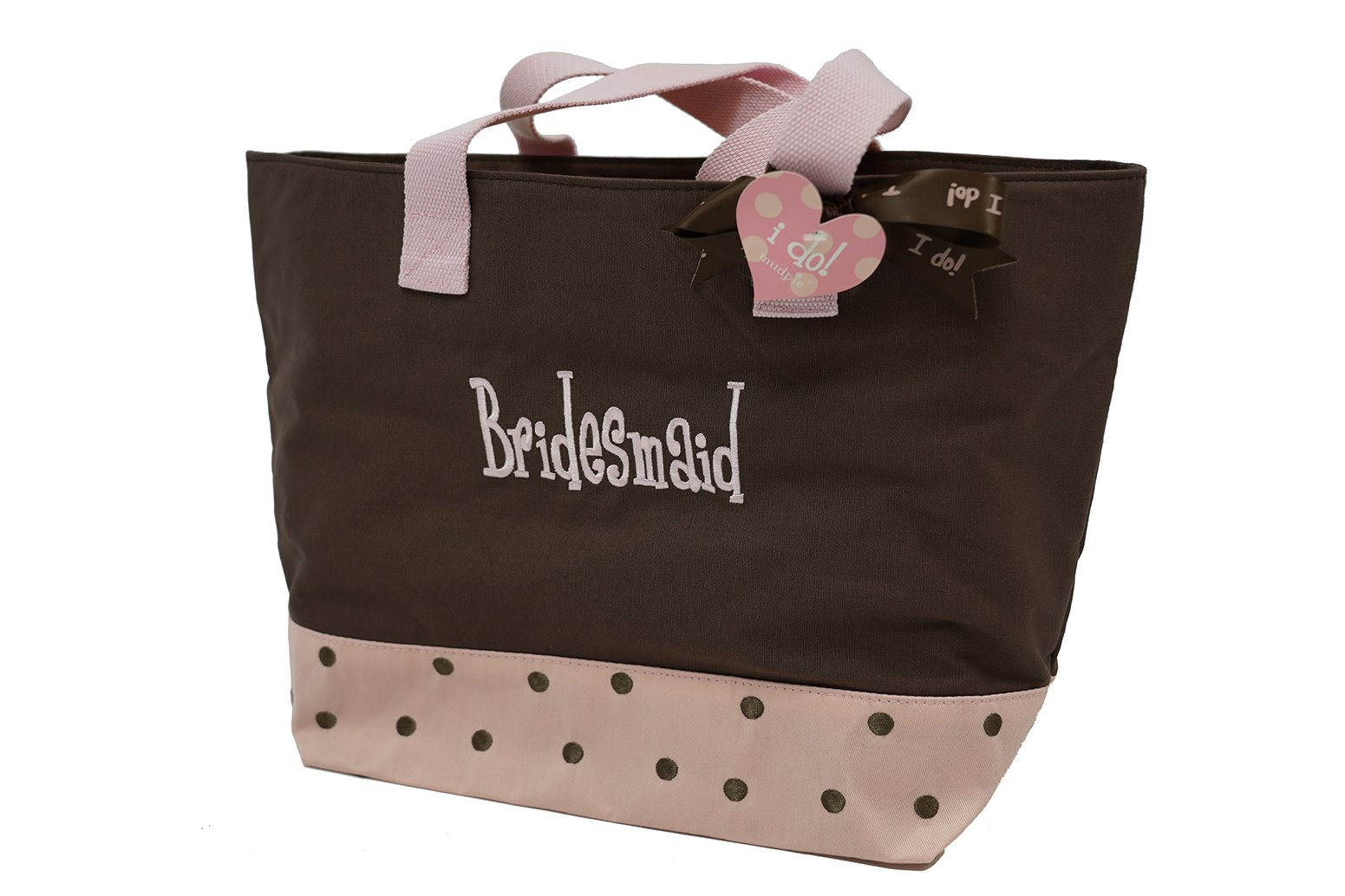 Mud Pie Wedding I Do Twill Tote, Bridesmaid, Chocolate Brown and Pink