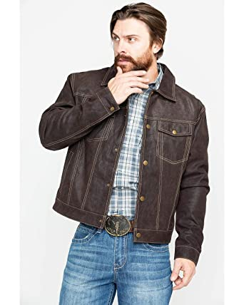 d8965fd6f Scully Men's Suede Snap Front Western Jacket Brown Large at Amazon ...