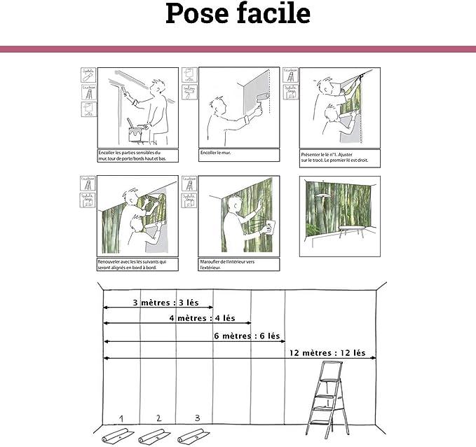 Rev/êtement Panoramique Tapisserie XXL Pose Facile et Qualit/é HD D/écoration Murale Effet Trompe l/'Oeil Scenolia Papier Peint Intiss/é Terrasse Vue sur Mer 3 x 2,70m