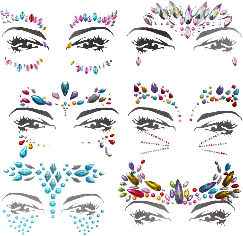4PCS joyas pegatinas cara brillantes Tattoo Cuerpo Cristal Glitter piedras preciosas cara piedras preciosas joyas piedras Face Jewels para Festival de fiestas shows Make Up