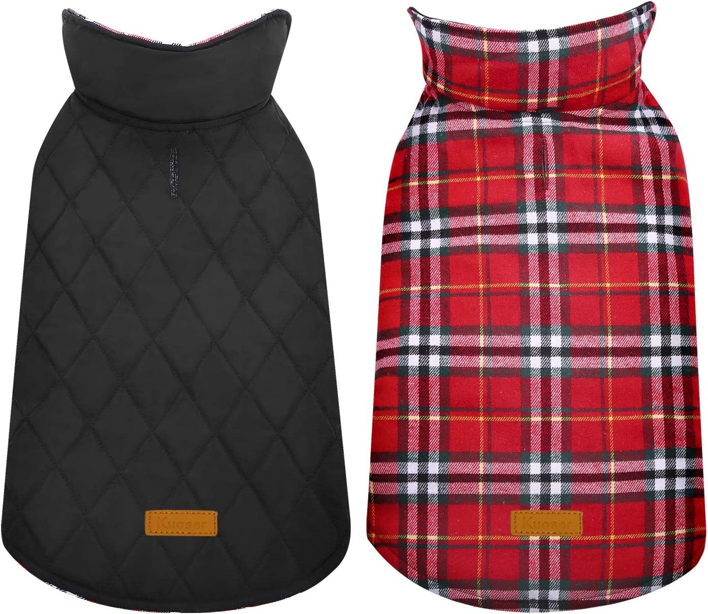 Kuoser Cozy Waterproof Windproof Reversible British Style Plaid Dog Vest Winter Coat Warm Dog Apparel for Cold Weather Dog Jacket for Small Medium Large Dogs with Furry Collar (XS - 3XL)