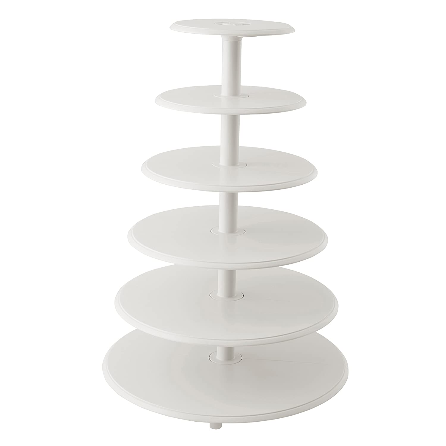 Wilton Towering Tiers Cupcake and Dessert Stand, Great for Displaying Cupcakes, Danishes and Your Favorite Hors d'Oeuvres, White, 3-foot, 28-Piece