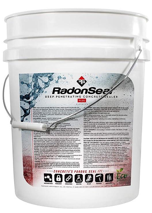 RadonSeal Plus Deep-Penetrating Concrete Sealer (5-Gallon) - Basement  Waterproofing & Radon Mitigation Sealer | Seals Concrete Against Water,  Vapor,