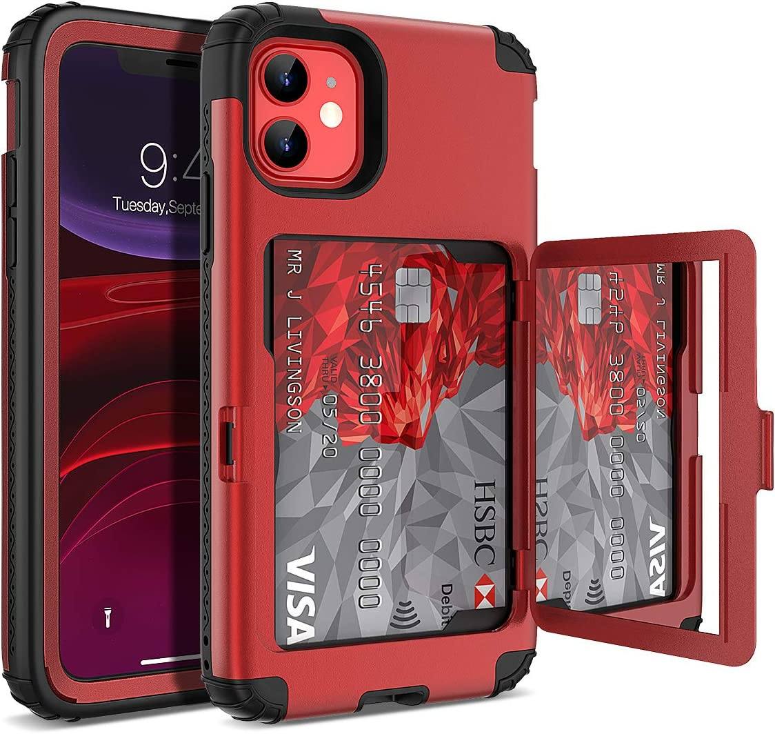 iPhone 11 Wallet Case - WeLoveCase Defender Wallet Credit Card Holder Cover with Hidden Mirror Three Layer Shockproof Heavy Duty Protection All-Round Armor Protective Case for iPhone 11 Red