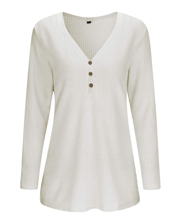OUGES långärmad knapp lösa lediga blusar tunika toppar för kvinnor Beige381