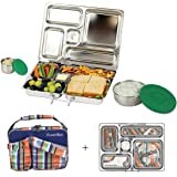 PlanetBox ROVER Eco-Friendly Stainless Steel Bento Lunch Box with 5 Compartments for Adults and Kids - Plaid Carry Bag with Planet Plaid Magnets