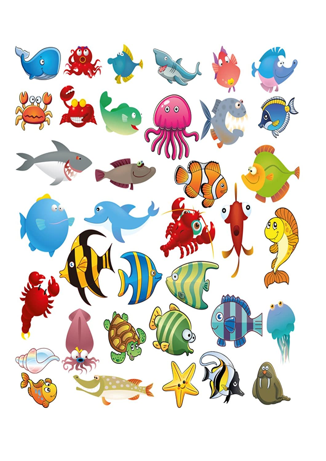 36 under the sea creatures fish cake toppers on icing amazon co