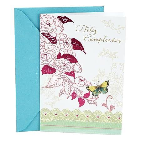 Hallmark Vida Spanish Birthday Greeting Card (Floral with Butterfly)