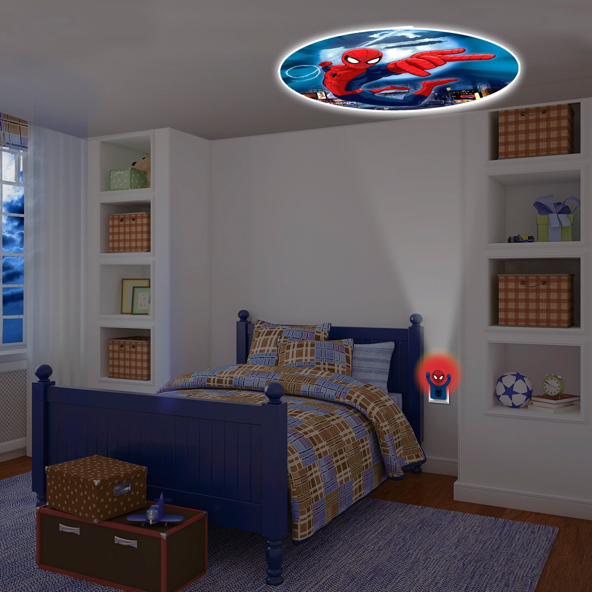 Marvelu0027s Ultimate Spider Man Projectables LED Plug In Night Light, 13341,  Image Projects Onto Wall Or Ceiling     Amazon.com