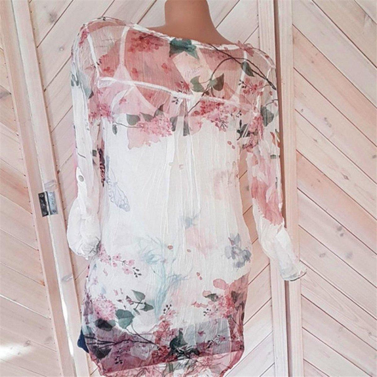 HongXander Plus Size Women Casual Floral Printed Beach Blouse Button T-Shirt Chiffon Irregular Hem Top by HongXander-Shirts (Image #3)
