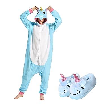 e2434ccce7ef Amazon.com  Hstyle Unisex Adult Unicorn One Piece Pajamas with Plush ...
