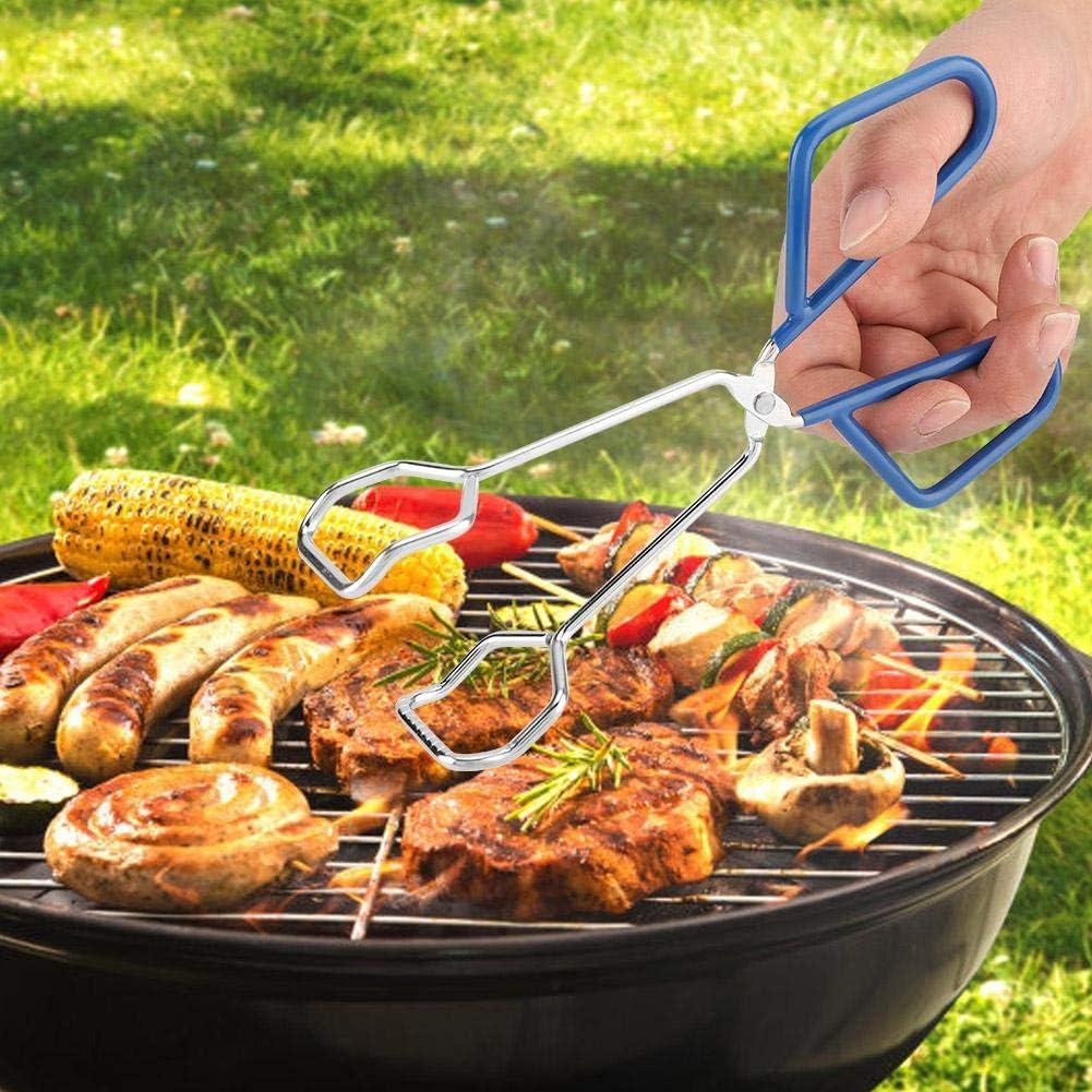 Pinze per Barbecue BBQ Cucinare a Forbice Clip per Barbecue in Acciaio Inossidabile Pinze per Grill per Alimenti a Buffet Carne//Bistecca Morsetto da Cucina Resistente al Calore Blu