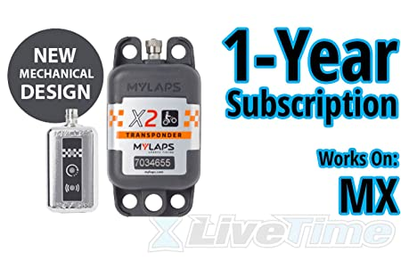 MyLaps X2 Transponder, Rechargeable, for MX motocross , includes 1-Year Subscription