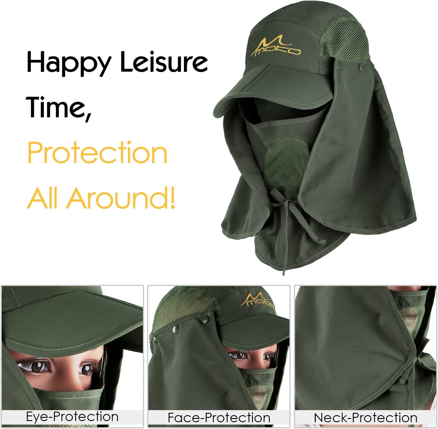 Army Green Camping Gardening Outdoor UPF 50 Sun Protection with Removable Neck Flap /& Face Cover Mask for Hiking MoKo Fishing Hat Sun Cap for Men Women Boating