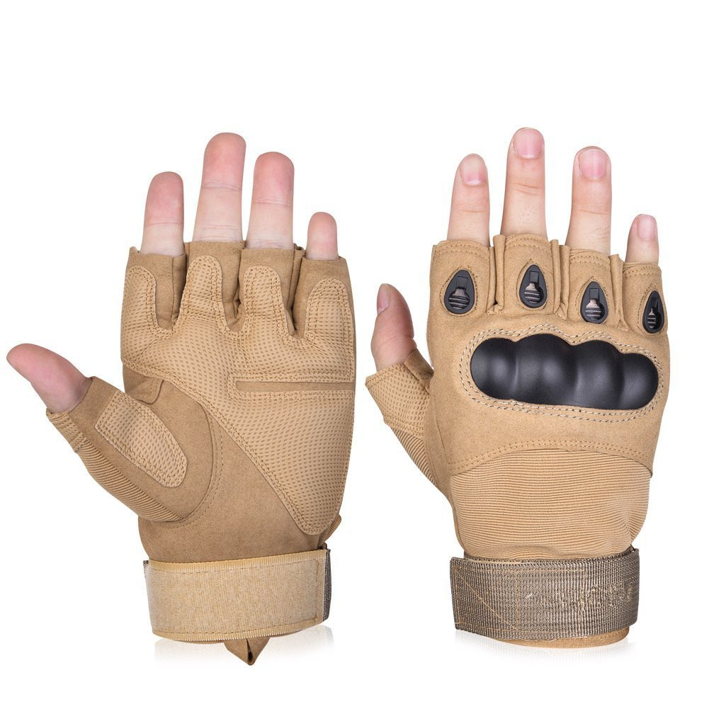 1Paar Belüften Verschleißfest Half Finger Fingerlose Handschuhe Hartschale und Schaumstoff Schutz für Schießen Airsoft Jagd Radfahren KT-SUPPLY