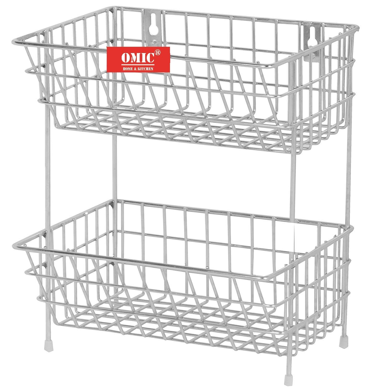 Omic Stainless Steel Fruits & Vegetable Trolley/Basket for Kitchen (Multipurpose Kitchen Storage Shelf Rack) (2 (Tier) 9x11x14 Inch)