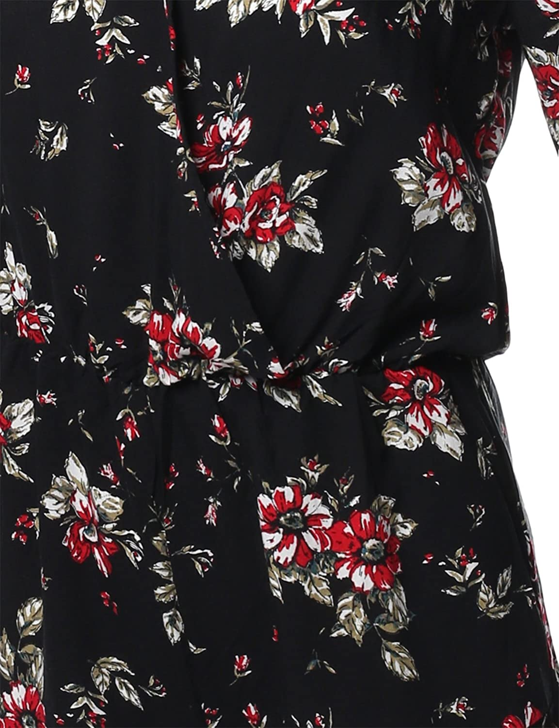 Awesome21 Floral Print Deep V-Neck 3//4 Ruffle Sleeve Romper Jumpsuit Black 2 Size S