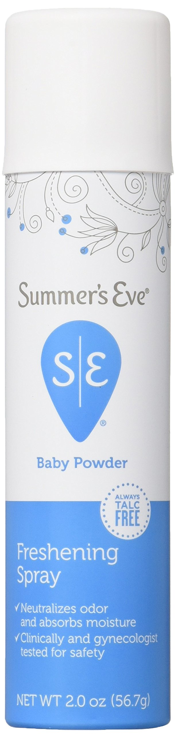 Summer's Eve Freshening Spray, Baby Powder, Gynecologist Tested, 2 Ounces Cans, Casepack of 24 Cans-Packaging May Vary