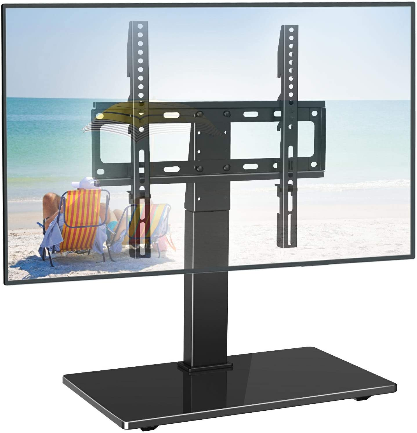 PERLESMITH Universal Swivel TV Stand - Table Top TV Stand for 26-55 Inch LCD LED TVs - Height Adjustable TV Mount Stand with Tempered Glass Base, VESA 400x400mm, Holds Up to 88lbs: Electronics