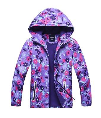 LOKTARC Girls Fleece Lined Windbreaker Light Windproof Jacket with Hood Purple ...