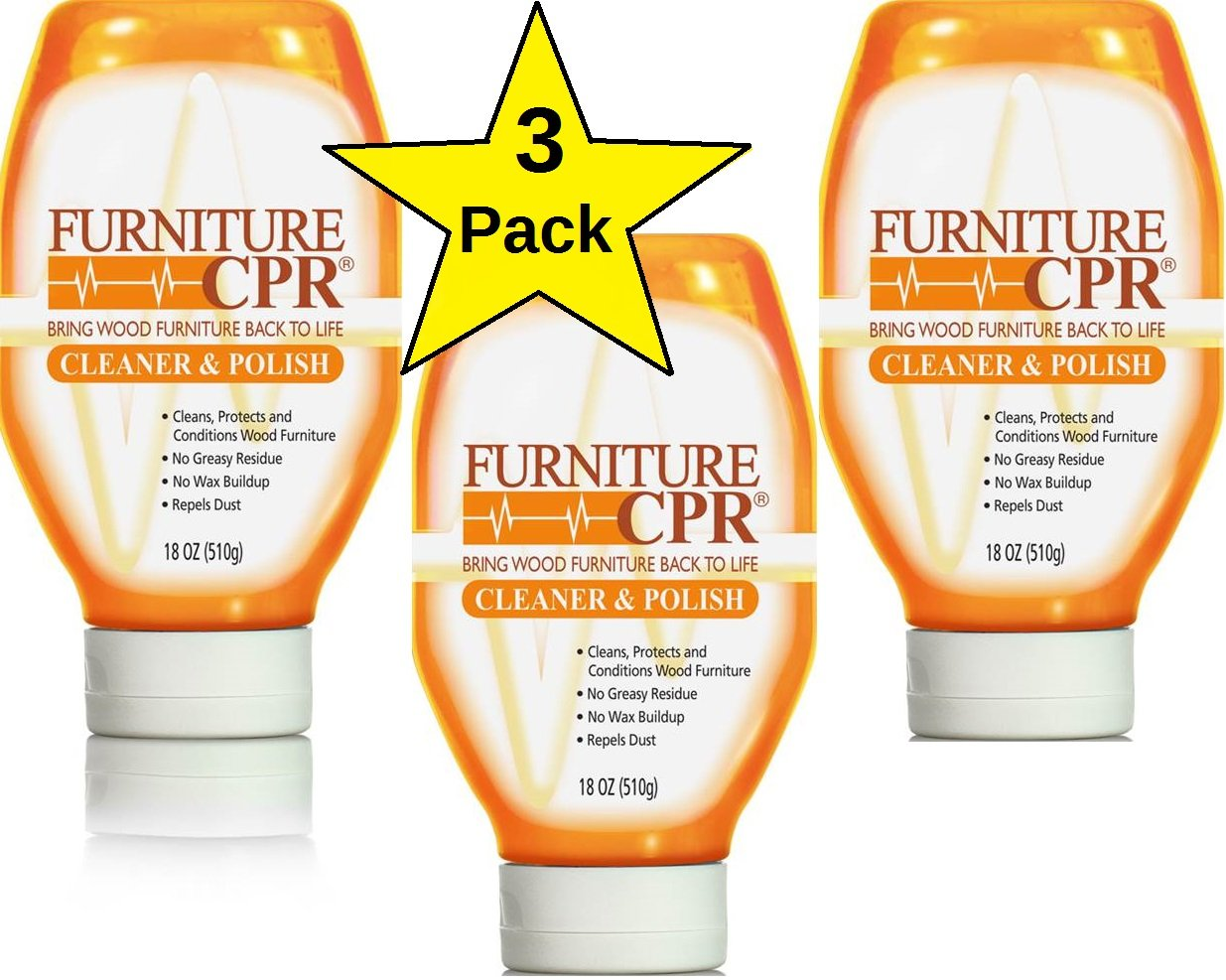 Furniture CPR (Value 3PK -18oz Bottles) – Cleans & Polishes Wood Furniture with No Wax Build-up – Shine Adjusts to Any Finish – Conditions Tables, Cabinets, Trim, Doors & More
