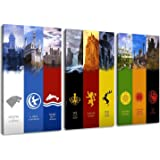 """Gane of Thrones, banner design, 3-pc Canvas (Total Size: 47.2"""" x 31.5""""), high-quality art print as a mural. Cheaper than an oil painting! WARNING NO poster!"""