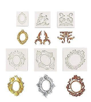 Marco de fotos de encaje estilo barroco para fondant, molde de silicona para azúcar,