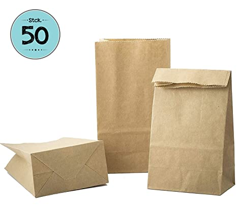 50 Kraft marrón bolsas de papel con base 9 x 16 x 5 cm, 70 gr./