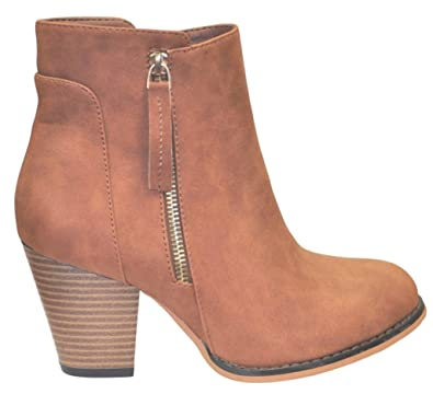 Charm Tan Faux Suede Leather Zip Short Thick Heel Closed Toe Cute Funky Western Classic Winter