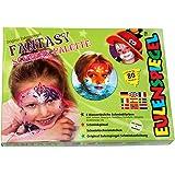 Eulenspiegel 208045 Schminkset Fantasy, Pinsel, Schwämmchen und Anleitung, Palette mit 8 Farben