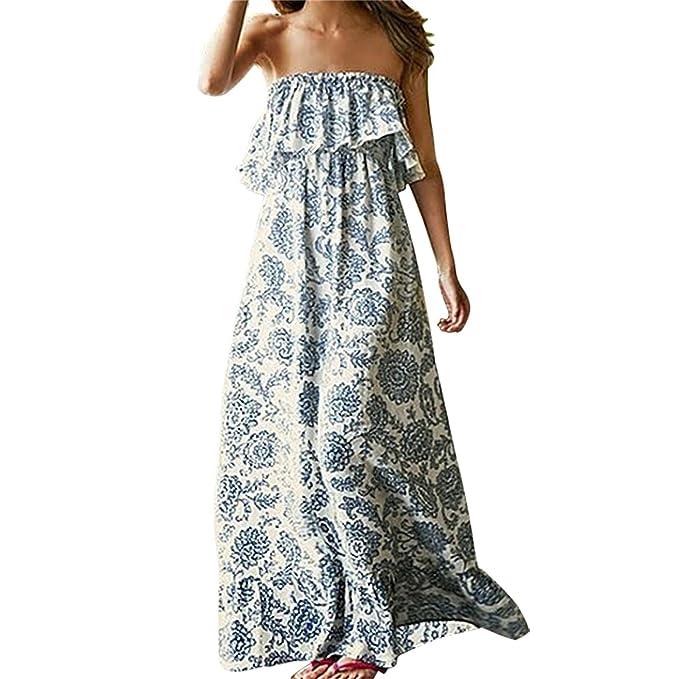 Vestido de Verano Largo Maxi Falda Mujer Casual Elegante Boda Playa Fiesta  Noche Mujer Boho vestido 9f5a83f06ae1