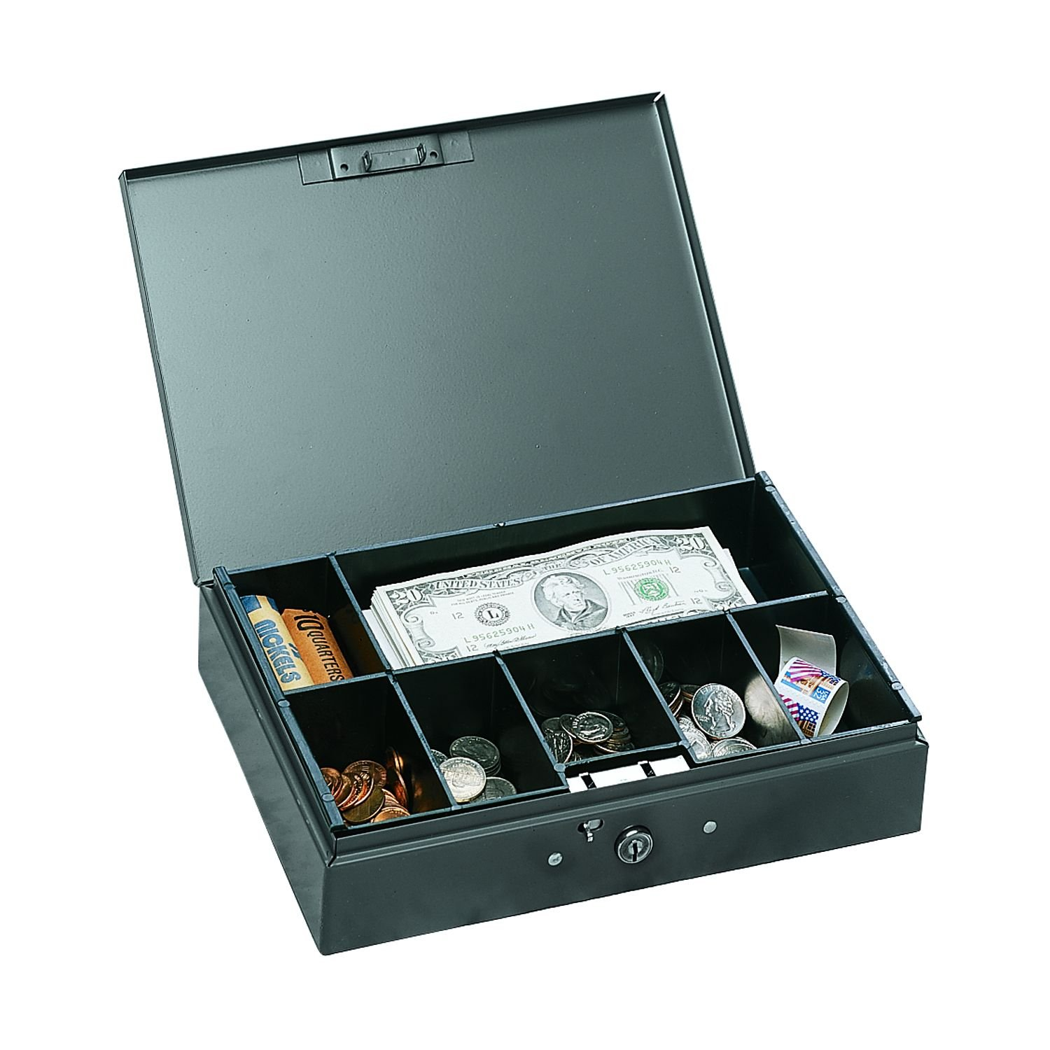 STEELMASTER Extra Large Cash Box with Handles, Gray (221F15TGRA) Gray (221F15TGRA) MMF Industries