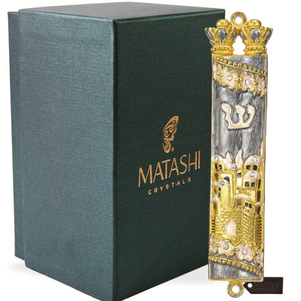 Matashi Hand Painted Mezuzah Gold Plated and Crystals (Grey Enamel Mezuzah Jerusalem City)