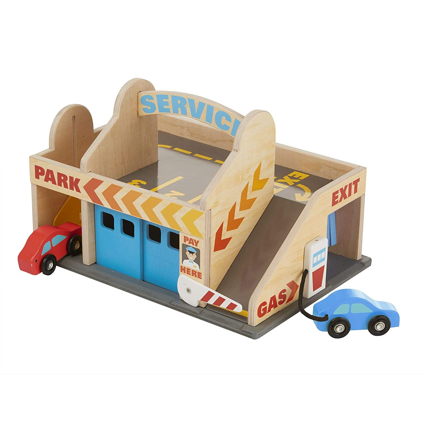 Melissa Doug Service Station Parking Garage With 2 Wooden Cars and Drive Thru Car Wash