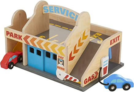 Melissa & Doug 9271 Service Station Parking Garage with 2 Wooden Cars and Drive-Thru Car Wash