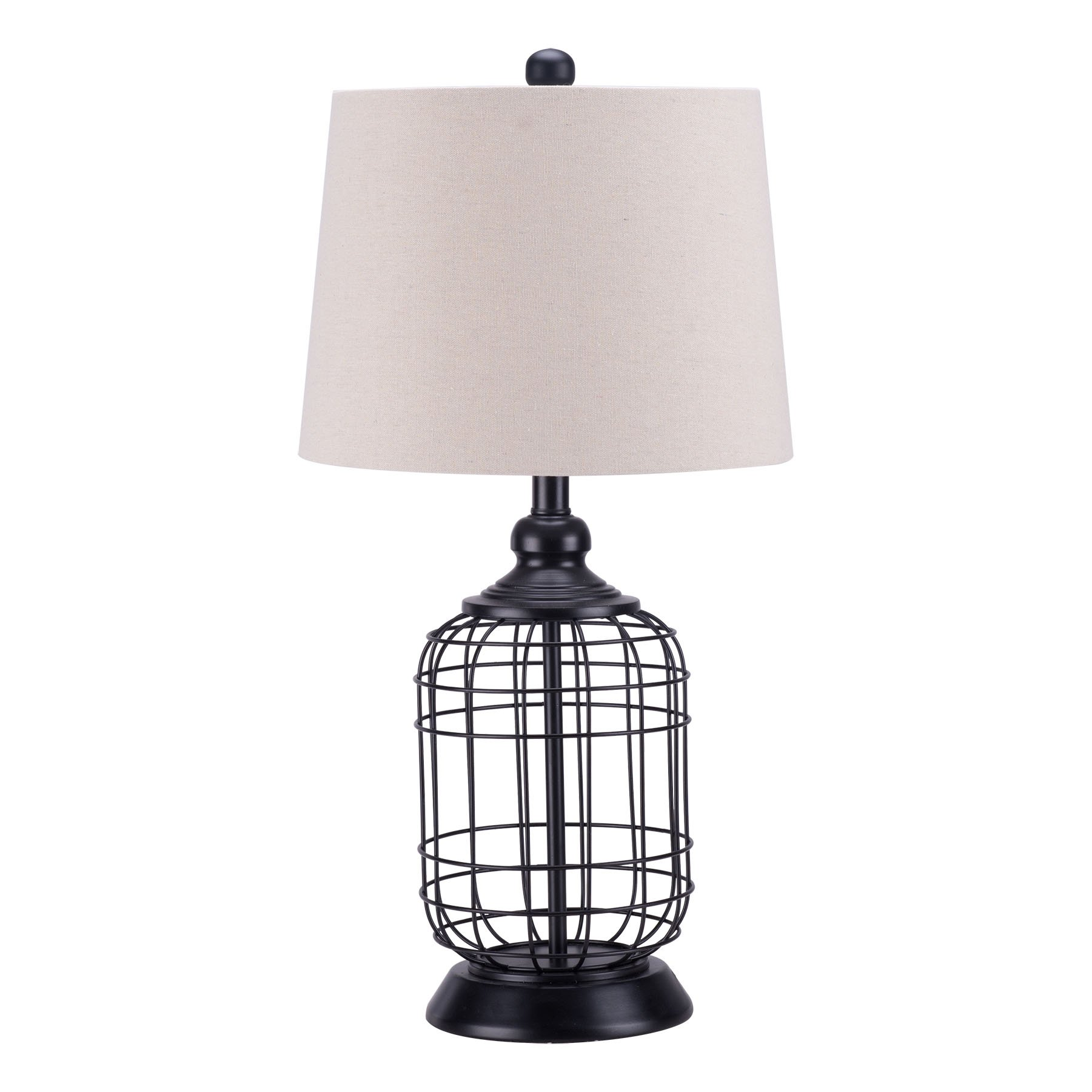 CO-Z Birdcage Base Table Lamps, Anti-Rust Metal Base & Oatmeal Linen Shade Desk Lamp, 25.5 Inches Height for Living Room Bedroom Bedside Console (Black)