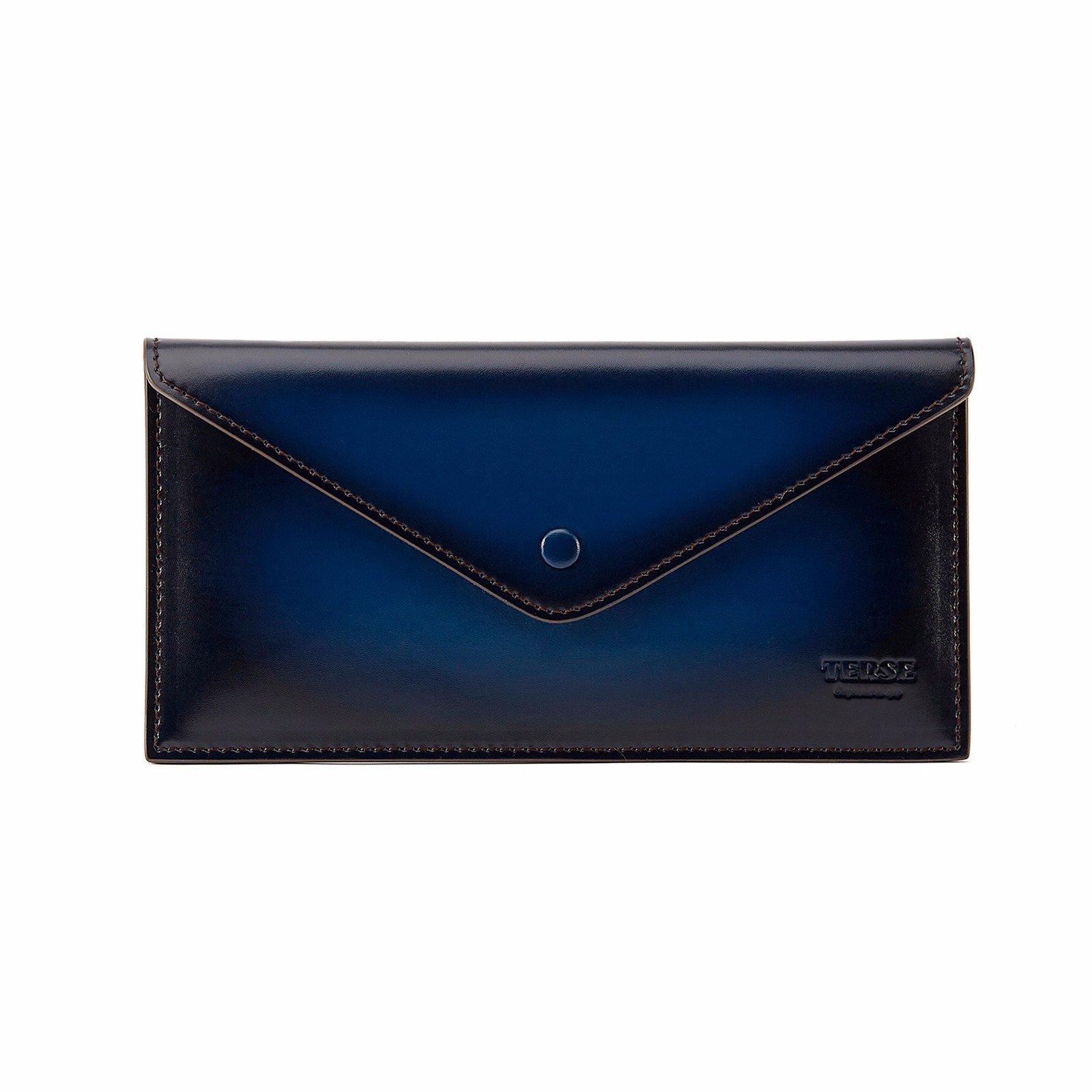 TERSE Men's Clutch Wallet Genuine Leather Card Holder Messenger Bags (Blue)