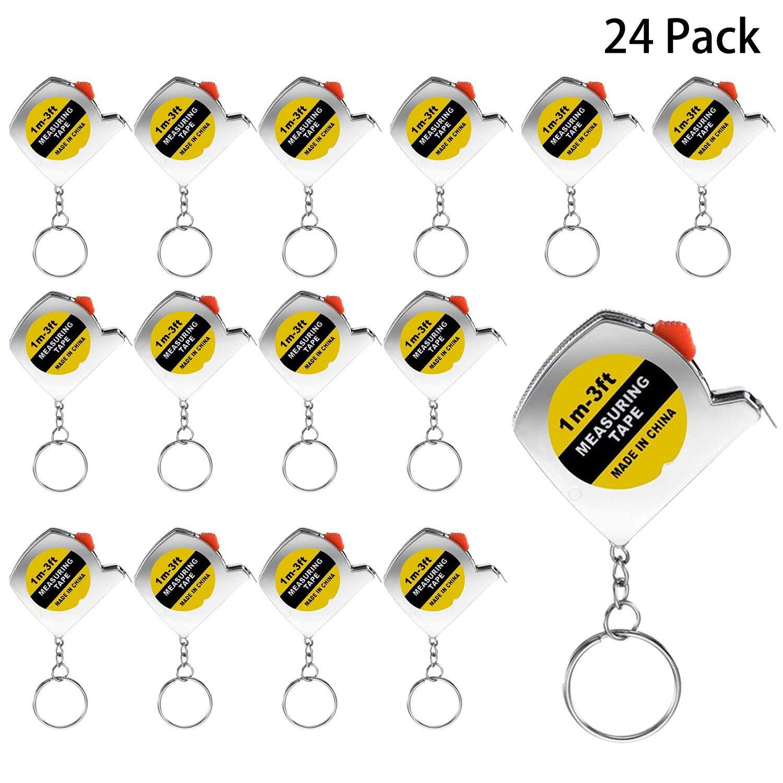 1 m//3 pies Cotiny 24 Pack cinta m/étrica llaveros Mini cinta m/étrica cinta m/étrica retr/áctil